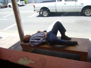 This is a bum living it up in Puerto Rico! I saw him while having lunch one day and I was both amused and saddened by the sight.